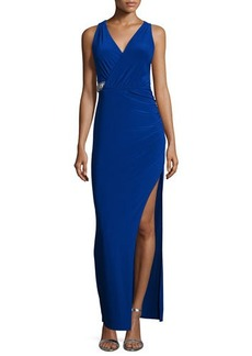 Laundry by Shelli Segal Sleeveless Faux-Wrap Embellished Gown