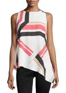 Laundry by Shelli Segal Sleeveless Graphic-Print Asymmetric Top