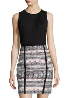 Laundry by Shelli Segal Sleeveless Jacquard Sheath Dress, Black/Multicolor