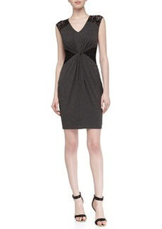 Laundry by Shelli Segal Sleeveless Lace Stretch-Knit Dress, Dark Charcoal
