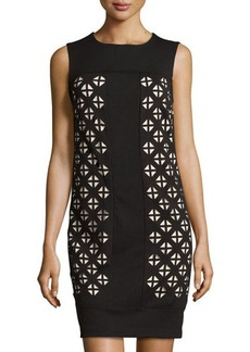 Laundry by Shelli Segal Sleeveless Laser-Cut Ponte Dress