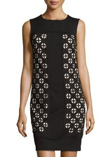 Laundry by Shelli Segal Sleeveless Laser-Cut Ponte Dress, Black