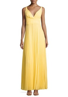 Laundry by Shelli Segal Sleeveless Pleated Open-Back Gown, Canary Yellow