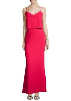 Laundry by Shelli Segal Sleeveless Ponte Popover Gown