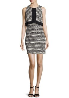 Laundry by Shelli Segal Sleeveless Popover Jacquard Dress, Black/White