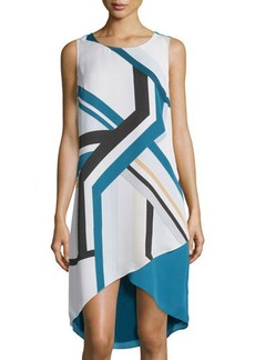 Laundry by Shelli Segal Sleeveless Printed High-Low Shift Dress