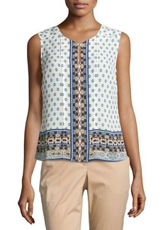 Laundry by Shelli Segal Sleeveless Printed Keyhole Blouse