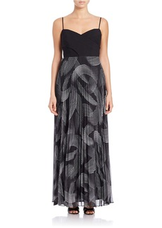 LAUNDRY BY SHELLI SEGAL Sleeveless Printed-Skirt Gown