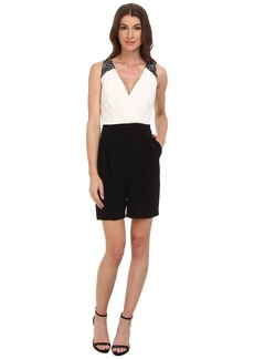 Laundry by Shelli Segal Sleeveless Romper with Beaded Shoulders