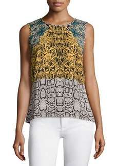 Laundry by Shelli Segal Sleeveless Round-Neck High-Low Blouse