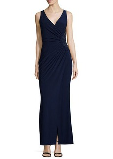 Laundry by Shelli Segal Sleeveless Ruched Gown w/ Beading