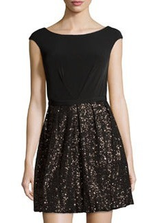 Laundry by Shelli Segal Sleeveless Sequined Cocktail Dress, Black/Multi