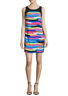 Laundry by Shelli Segal Sleeveless Shift Dress W/Back Cut-Out, Bright Blue Beret/Multi Colors