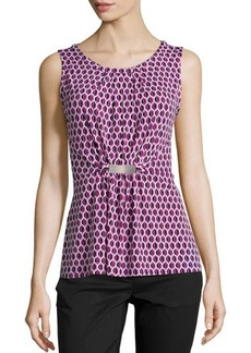Laundry by Shelli Segal Sleeveless Shirred Leaf-Print Tank