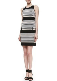 Laundry by Shelli Segal Sleeveless Striped Ponte Dress
