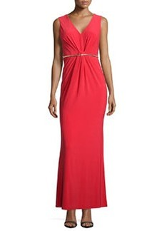 Laundry by Shelli Segal Sleeveless V-Neck Belted Gown, High Risk