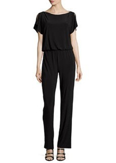 Laundry by Shelli Segal Slit-Sleeve Knit Jumpsuit, Black