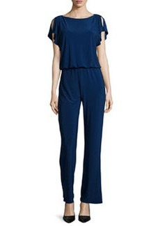 Laundry by Shelli Segal Slit-Sleeve Knit Jumpsuit, Midnight