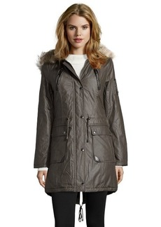 Laundry by Shelli Segal smokestone twill faux fur trim hooded parka