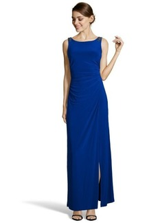 Laundry by Shelli Segal starlet blue jersey draped back gown