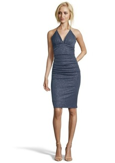 Laundry by Shelli Segal steel glitter matte jersey v-neck dress