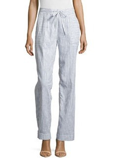 Laundry by Shelli Segal Straight-Leg Stripe Pants, Black Multi