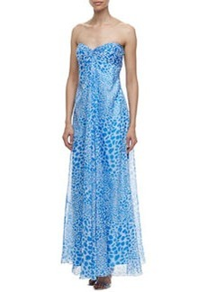 Laundry by Shelli Segal Strapless Animal Print Cascade Gown, Blue/White