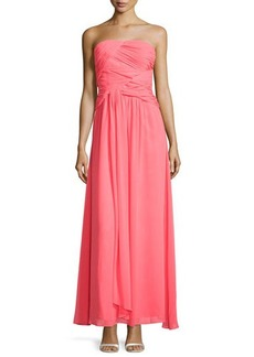 Laundry by Shelli Segal Strapless Double-Twist Pleated Chiffon Gown, Bright Calypso Coral