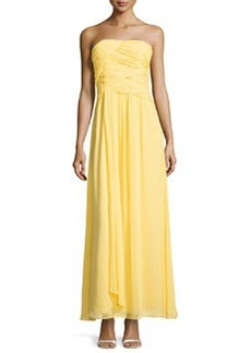 Laundry by Shelli Segal Strapless Double-Twist Pleated Chiffon Gown, Canary Yellow