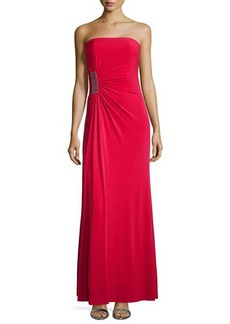 Laundry by Shelli Segal Strapless Gathered Jersey Gown, Lava