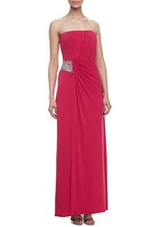 Laundry by Shelli Segal Strapless Gown with Shirring Detail, Paradise Pink