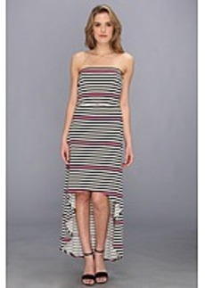 Laundry by Shelli Segal Strapless Hi-Low Striped Maxi