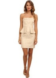 Laundry by Shelli Segal Strapless Jacquard Peplum Dress