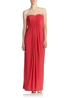 Laundry by Shelli Segal Strapless Jersey Pleated Gown