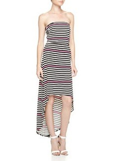 Laundry by Shelli Segal Strapless Mixed-Stripe High-Low Maxi Dress, Neon Pink
