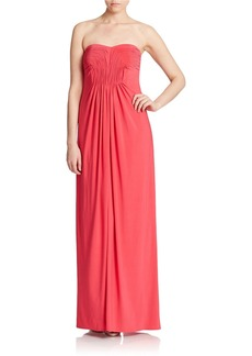 LAUNDRY BY SHELLI SEGAL Strapless Pleated Bodice Gown