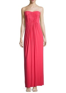 Laundry by Shelli Segal Strapless Pleated-Bodice Gown, Coral Rage
