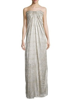 Laundry by Shelli Segal Strapless Shirred Metallic Gown