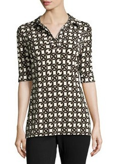 Laundry by Shelli Segal Stretch Geometric-Print Tunic, Tan/Multi
