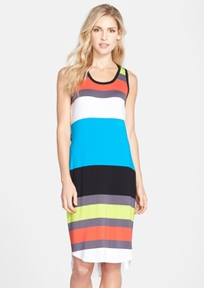 Laundry by Shelli Segal Stripe Jersey Back Cutout Tank Dress