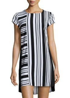 Laundry by Shelli Segal Striped Cap-Sleeve Shift Dress, Black/White