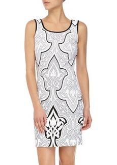 Laundry by Shelli Segal Striped Jacquard Tank Dress, Black/Multi