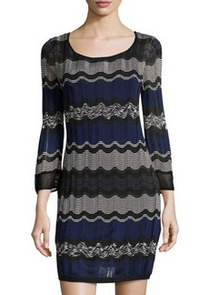 Laundry by Shelli Segal Striped Long-Sleeve Sweaterdress
