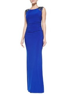 Laundry by Shelli Segal Stud-Shoulder Jersey Gown