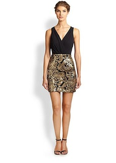 Laundry by Shelli Segal Surplice Sequined-Skirt Dress