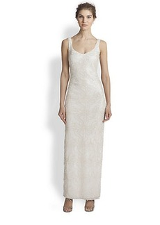 Laundry by Shelli Segal Sweetheart Embroidered Mesh Gown