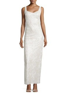 Laundry by Shelli Segal Sweetheart Embroidered Mesh Gown, Pale Gold