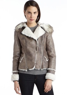 Laundry by Shelli Segal taupe and ivory faux suede and fur asymmetrical jacket