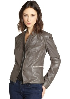 Laundry by Shelli Segal taupe leather asymmetrical jacket
