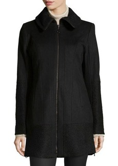 Laundry by Shelli Segal Textured-Trim Side-Zip Coat